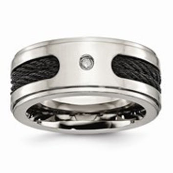 Titanium Black IP-plated Cables w/Diamond 10mm Polished Wedding Band Ring