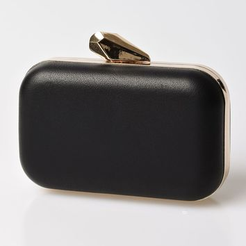 Black Pleather & Gold Top Lock Hard Clutch