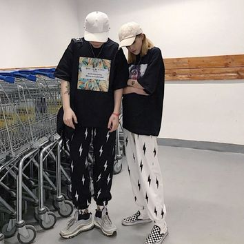 Harajuku Loose Lightning Pattern Unisex Pants Punk Black White High Street Long Trouser Women Pants