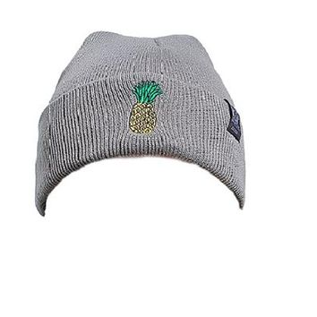 [16444] Pineapple Embroidered Outdoor Warm Hat