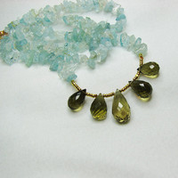 Aquamarine gem necklace Faceted olive green by ShopPretties