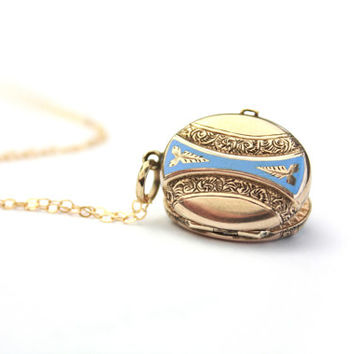 Antique 14k Gold Enamel Locket Blue and White Enamel  / b1