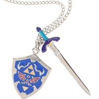 The Legend Of Zelda Sword & Shield Necklace