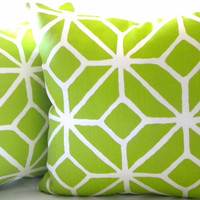 Trina Turk pillow cover, Trellis Bright Apple Green  18 x 18