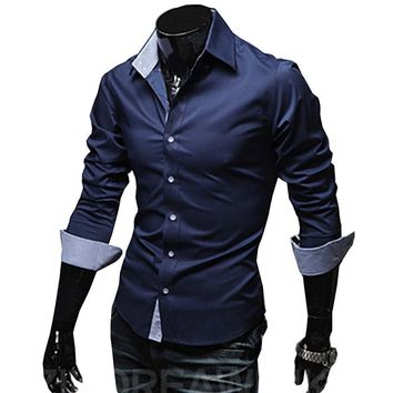 2017 New Designer Slim Fit Mens Casual Shirt Fashion Long Sleeve Classic Social Shirt Male Shirts Chemise Homme