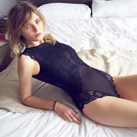 Sleepwear Home Sleeveless Soft Sexy Lace Transparent Backless One-piece [8926552963]