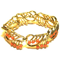 Crown Trifari Bracelet Gold Tone and Faux Coral