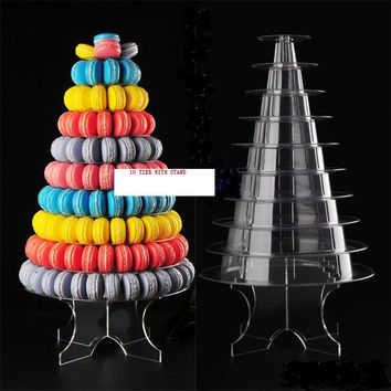 10 tiers Macaron Tower display foldable macaron display stand for party decoration