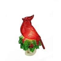 "5.25"" Beaded Red Cardinal on Holly Decorative Christmas Night Light"