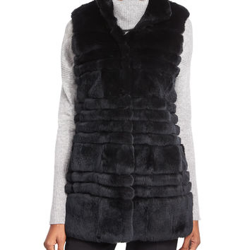 Colby Fur Long Vest, Black, Size: