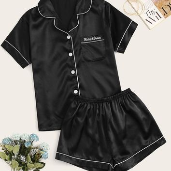 Letter Embroidered Button-up Satin PJ Set