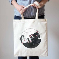 Black and White Kitty Cat Hug Illustrated Natural Canvas Tote Shopper Bag