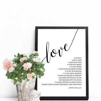 Bible verse prints, Scripture art prints, Christian wall art, Love is patient, Love is kind, Bible verse wall art, 1 Corinthians 13 sign
