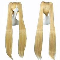 "MapofBeauty 48"" Straight Cosplay Wig + 4 Clip On Ponytails (Gold)"
