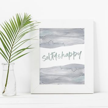 Salty and Happy Beach Life Coastal Sign Wall Art Print