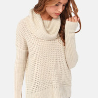 Element Eden Monsoon Beige Cowl Neck Sweater