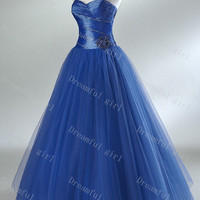 Prom dresses sweetheart sleeveless fuchsia tulle with flowers