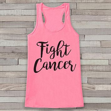 Women's Fight Cancer Tank - Cancer Awareness Tank - Pink Tank Top - Pink Racerback Tank - Running Race Team Tank - Fight Cancer Shirt
