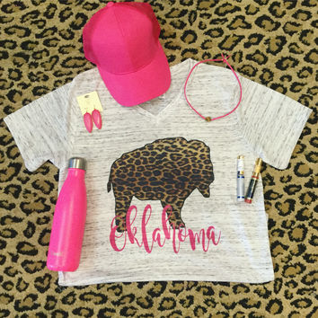 Leopard Bison with Pink Oklahoma