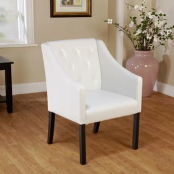 Simple Living Tufted White Faux Leather Guest Chair | Overstock.com Shopping - The Best Deals on Office Chairs