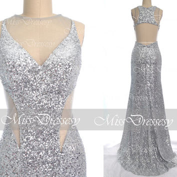 Sequin Prom Dresses, 2014 Prom Dresses, Mermaid Straps Sequined Silver Sequin Prom Dresses, Silver Evening Gown, Wedding Party Dresses
