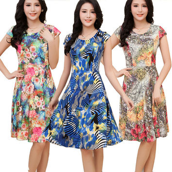 Big Sale on Summer Dress 5XL Plus Size Dresses Desigual Floral Print Dresses