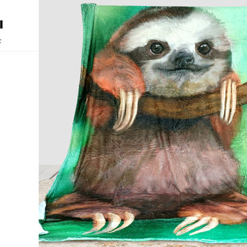 """HommomH"" 60"" x 80"" Soft Blanket Air Conditioning Funny Sloth"