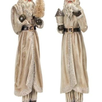 Set of 2 Beige Old World Shimmering Santa Claus Decorative Christmas Table Top Figurines