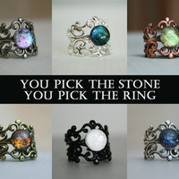 You Pick The Colors Custom Ring - Beautiful Color Shifting Cuff Ring