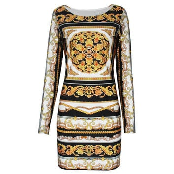 Printed Long Sleeve Mini Bodycon Dress