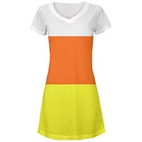 Halloween Candy Corn Costume All Over Juniors V-Neck Dress