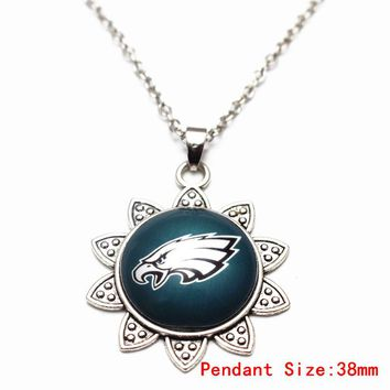 Philadelphia Eagles Football Sports Team Glass Sunflower Pendant Necklace Silver Chains Fashion Necklace Jewelry For Men Women