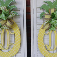 Pineapple Monogram Door Hanger Summer Wreaths Double Door Monograms Pineapple Yellow Green Welcome Decor Door Hanger Monogram Wedding Gift