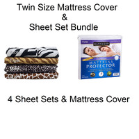 Twin Size Soft Plush Microfiber Sheet Sets & Mattress Cover College Bedding Bundle