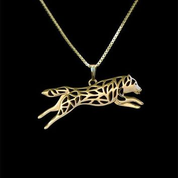Unique Romantic Gold Silver Leaping Siberian Husky Movement Pendant Necklace Hunger Games Necklace Women Best Friend Choker