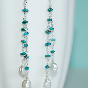 Cascading Turquoise and Freshwater Pearls Sterling Silver Earrings Kaya Jewelry