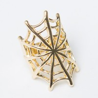 GOLD SPIDER WEB RING