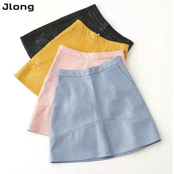 Brand autumn winter new high waist PU faux leather women skirt pink yellow black blue zipper real photo u.s. size 004