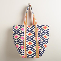 Orange and Blue Ikat Tote Bag - World Market
