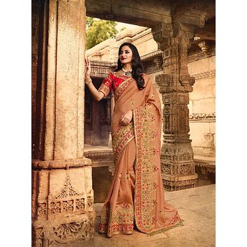 Dusty Rose Embroidered Luxurious Indian Pure Silk Sari - VIR13285