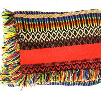 Authentic Vintage Mexican Southwestern Ethnic Lap Blanket Rug Large Heavy Woven Throw Hand Woven Large Multicolor Fringe