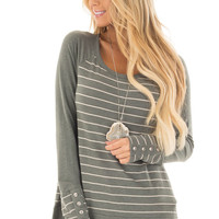 Olive Striped Top with Button Cuffs and Solid Contrast