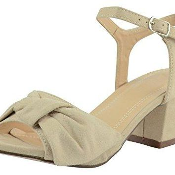 Cambridge Select Womens Open Toe Twist Bow Knot Ankle Strap Buckled Chunky Block Mid Heel Sandal
