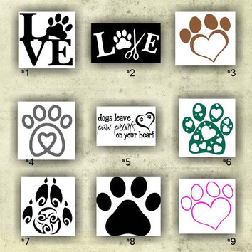 PAW PRINTS vinyl decals - 1-9 - custom car window stickers - personalized vinyl stickers - wall decals - paw print car decal - custom viny