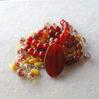 Red Agate, Carnelian Beads, Mother of Pearl, Glass Beads, DIY Jewelry Kit, Bead Kit, Gemstone Beads, Craft Supplies,Jewelry Making Kit,  MOP