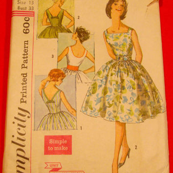 1960s Tea Dress Pattern Simplicity 3426 Sz13 Bust 33 Lowcut Back Full Skirted 3Vers