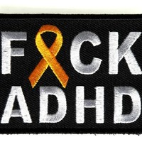 """Embroidered Iron On Patch - Fuck ADHD [Support Ribbon] 2.75"""" Patch"""