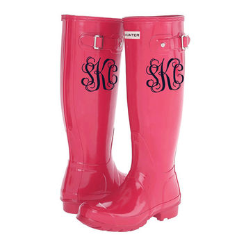 Set of 2 Rainboot Monogram Stickers Decals - Monogrammed Rain Boot - Many Styles and Colors available!