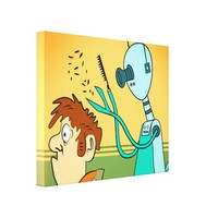 Funny Robot Hair Stylist Wrapped Canvas