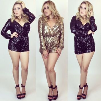 Gold or Black Sequin Long Sleeve Deep V Short Playsuit/Romper All Sizes